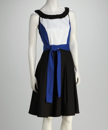 Blue Twill Color Block Tie Dress
