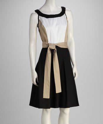 Sand Twill Color Block Tie Dress