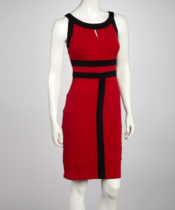 Red & Black Contrast Seam Sleeveless Dress