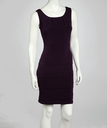 Eggplant Panel Sheath Dress