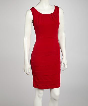 Red Panel Sheath Dress