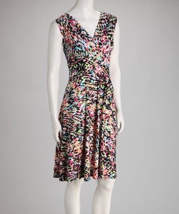 Black & Pink Confetti Sleeveless Surplice Dress