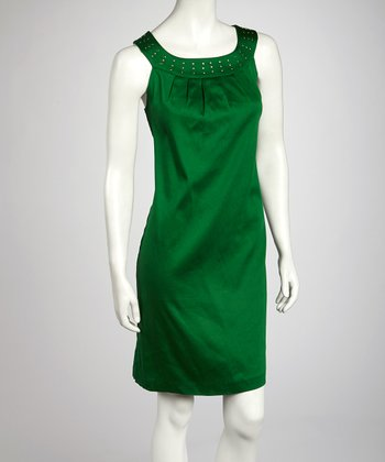 Mint Nailhead Yoke Dress