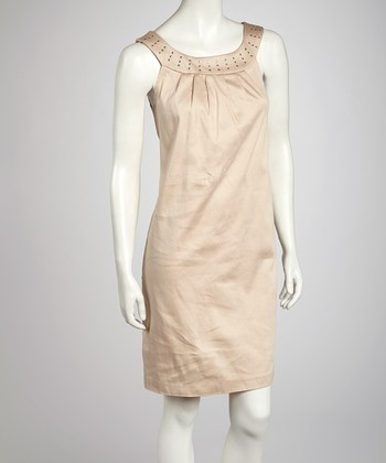 Stone Nailhead Yoke Dress