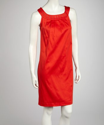 Tomato Nailhead Yoke Dress