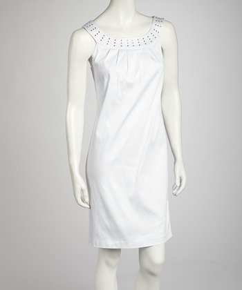 White Nailhead Yoke Dress