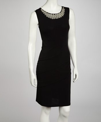 Black Jeweled Tiered Sleeveless Dress
