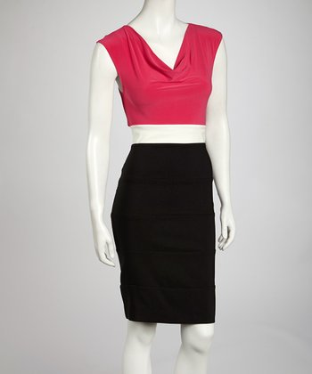 Fuchsia & Ivory Color Block Drape Dress