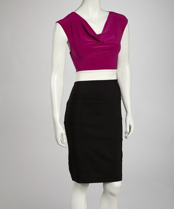 Magenta & Ivory Color Block Drape Dress