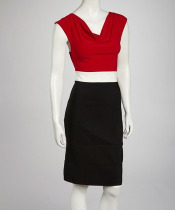 Red & Ivory Color Block Drape Dress