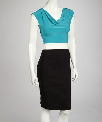 Turquoise & Ivory Color Block Drape Dress