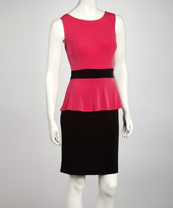 Fuchia Peplum Dress
