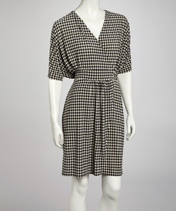 Black & Beige Houndstooth Dolman Surplice Dress