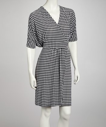 Black & White Houndstooth Dolman Surplice Dress