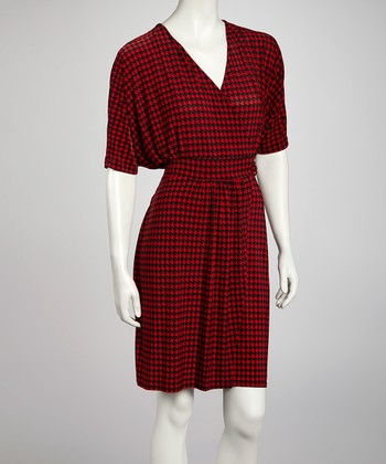 Red & Black Houndstooth Dolman Surplice Dress