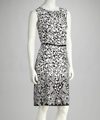 Black & Ivory Belted Sleeveless Dress
