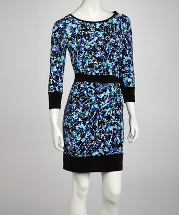 Black & Purple Floral Drape Three-Quarter Sleeve Dress