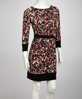 Brown & Coral Floral Drape Three-Quarter Sleeve Dress