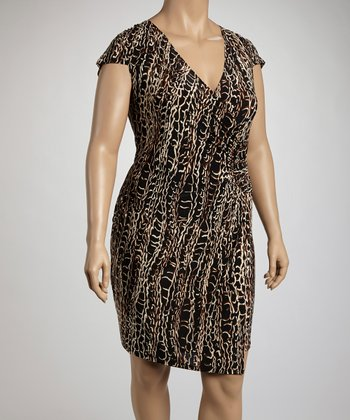 Black & Chestnut Chain Print Cap-Sleeve Wrap Dress - Plus