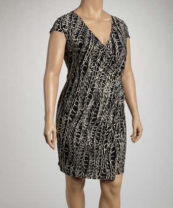 Black & Gray Chain Print Cap-Sleeve Wrap Dress - Plus