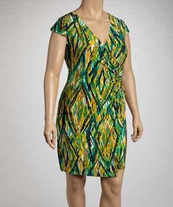 Navy & Chartreuse Diamond Print Cap-Sleeve Wrap Dress - Plus