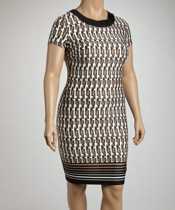 Black & Beige Tribal Sheath Dress - Plus