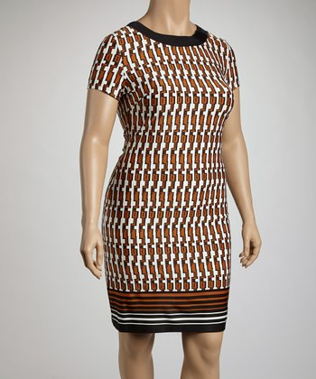 Black & Amber Tribal Sheath Dress - Plus