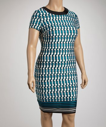 Black & Turquoise Tribal Sheath Dress - Plus
