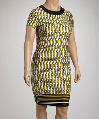 Black & Yellow Tribal Sheath Dress - Plus
