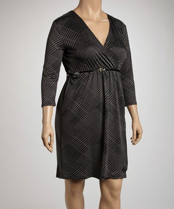 Black & Charcoal Glen Belted Surplice Dress - Plus
