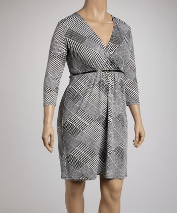 Black & Ivory Glen Belted Surplice Dress - Plus