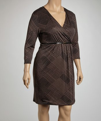 Black & Stone Glen Belted Surplice Dress - Plus