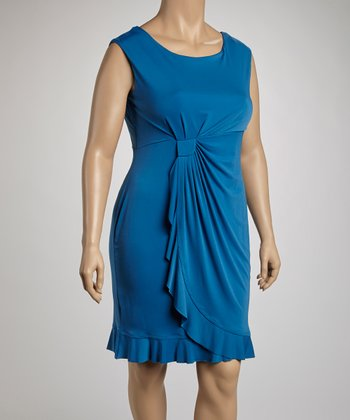 Blue Side Drape Sleeveless Dress - Plus