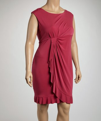 Boysenberry Side Drape Sleeveless Dress - Plus