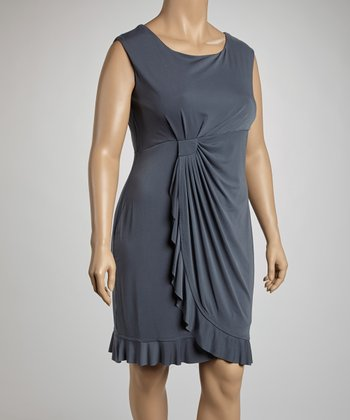 Gray Side Drape Sleeveless Dress - Plus