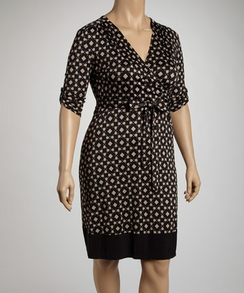 Black & Stone Geometric Wrap Dress - Plus