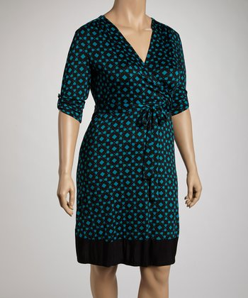 Black & Teal Geometric Wrap Dress - Plus