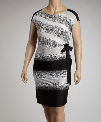 Black & Gray Snake Skin Print Cap-Sleeve Dress - Plus