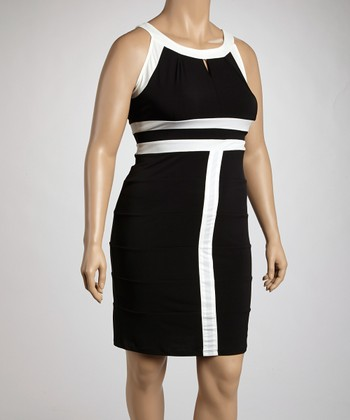 Black & Ivory Contrast Seam Sleeveless Dress - Plus