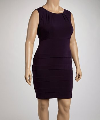 Eggplant Panel Sheath Dress - Plus