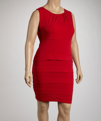 Red Panel Sheath Dress - Plus