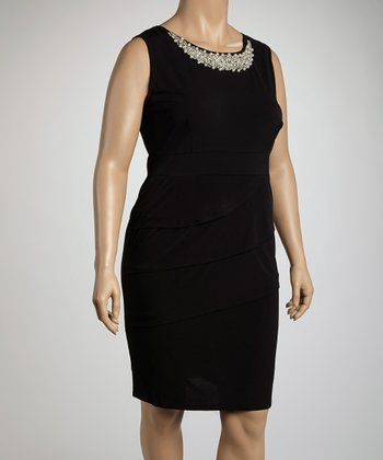 Black Jeweled Tier Sleeveless Dress - Plus