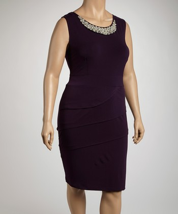 Eggplant Jeweled Tier Sleeveless Dress - Plus