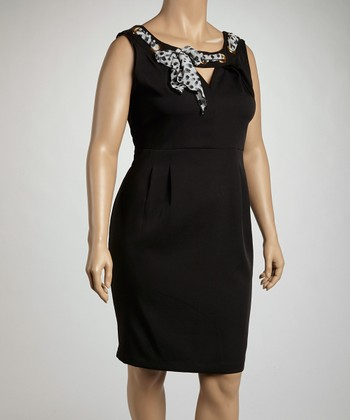 Black Animal Print Sash Sleeveless Dress - Plus
