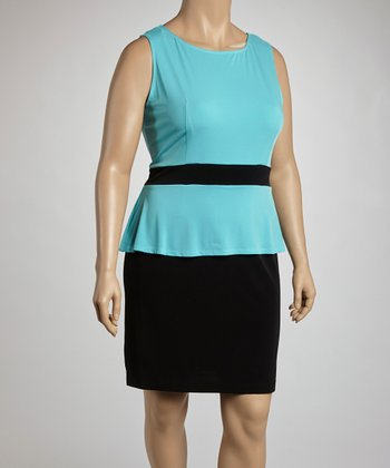 Aqua & Black Peplum Dress - Plus
