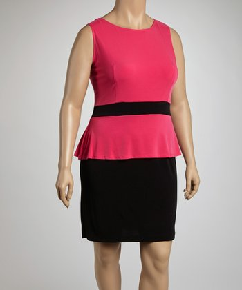 Fuchsia & Black Peplum Dress - Plus