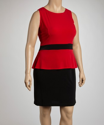 Red & Black Peplum Dress - Plus