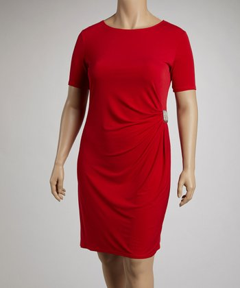 Red Side Drape Clasp Short-Sleeve Dress - Plus