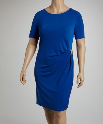 Royal Side Drape Clasp Short-Sleeve Dress - Plus