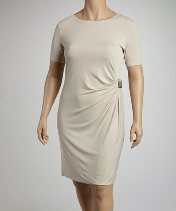 Stone Side Drape Clasp Short-Sleeve Dress - Plus